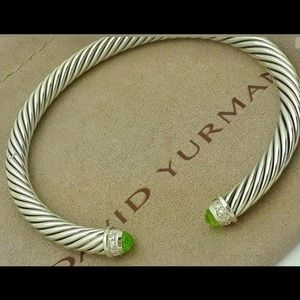 David Yurman Diamond & Peridot Silver Bracelet 5mm